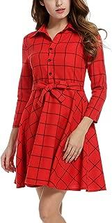 Zeagoo Women Lapel 3/4 Sleeve Plaid Belted Casual A-line Swing Shirt Dress S-XXL