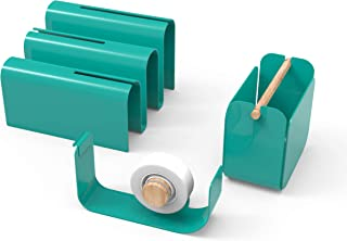 U Brands Metal Desktop Accessory Set, Office Supplies Kit, Arc Collection, Green, 3 Piece, Includes Tape Dispenser, Letter Sorter, and Pencil Cup