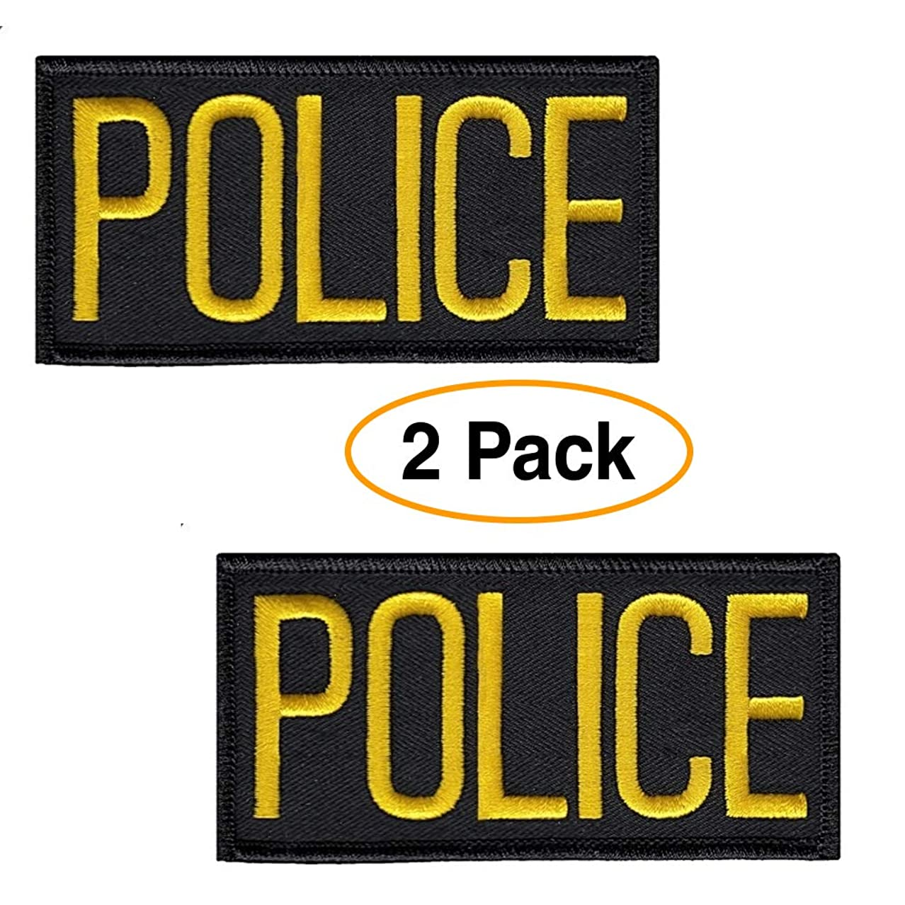 Police Patch Chest or Shoulder (2 Pack) 4 x 2 Inches Embroidered Gold/Yellow on Black