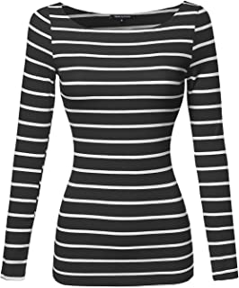 Women's Junior Basic Casual Long Sleeves Stripe Boat Neck Tee Top