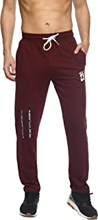 LEVIZO 100% Cotton Stretchable and Casual Joggers Slim Fit Track Pants with Side Zip Pockets for Sports Training Workout for Men