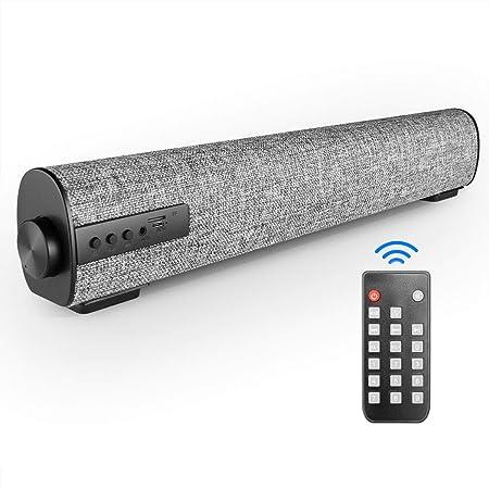 Vanzev Tragbarer Bluetooth Soundbar Lautsprecher 3d Stereo Sound Für Pc Handy Tablet Computer Tv Unterstützt Aux Rca Tf Karte Grau Audio Hifi