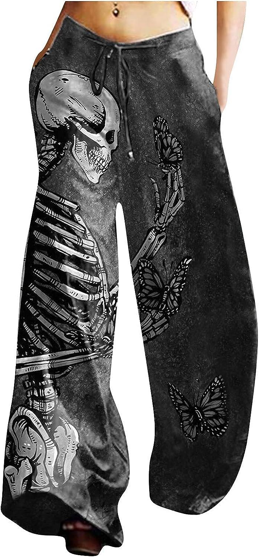 MIVAMIYA Women's Halloween Skull Pants Max 72% Luxury OFF Drawstring Palazzo Smocke