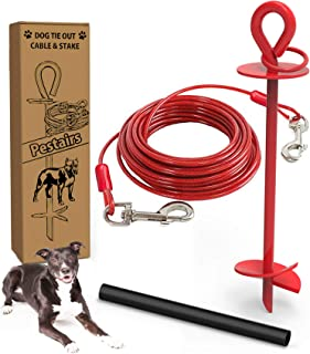 30 Ft Dog Tie Out Cable and Stake - Dog Yard Leash and Stake for Medium to Large Dogs Up to 100 lbs - Spiral Blade Dog Yar...