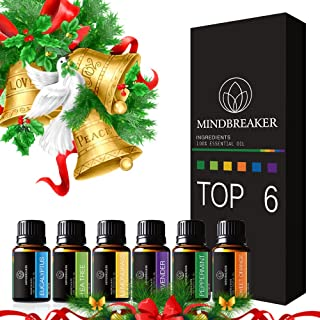 Organic Aromatherapy Essential Oil Set– 6 Bottles Aromatherapy Essential Oil Eucalyptus, Lavender, Tea Tree, Lemon, Sweet Orange, Peppermint for Home, Office, Sleep, Meditation.Works all Oil Diffusers