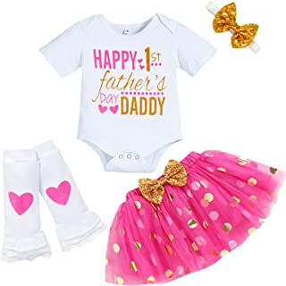 Baby Girl Happy 1st Father's Day Skirt Set Short Sleeve Letter Romper+Dot Bubble Dress+Headband+Leg Warmers 4Pcs Outfits