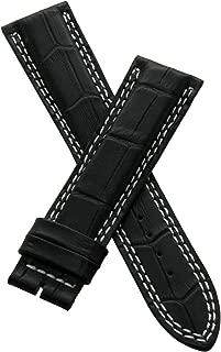 21 mm Black Alligator Style Leather Strap to fit Jager le Coultre Master Compressor 41.5 mm Models