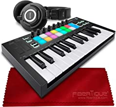 Novation Launchkey Mini MK3 25-Key USB MIDI Keyboard Controller + Tascam TH-07 High-Definition Monitor Headphones & Fibertique Microfiber Cleaning Cloth