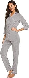 Ekouaer Women's Pajamas Soft Cotton Sleepwear Casual Nightwear Loungewear Pj Sets S-XXL