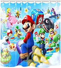 DRFLYCOOL Kids Cartoon Shower Curtain, Mario Popular Video Game Bathroom Decor 12 Hooks 60x72 Inch