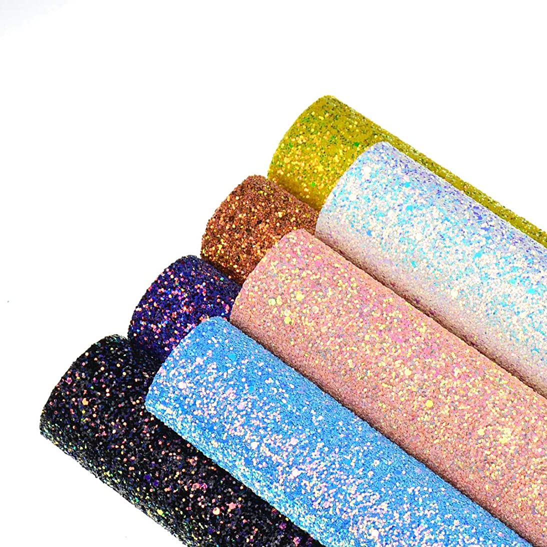 Faux Leather Chunky Glitter Canvas Sheets- 7 Pieces Assorted Colors A4 Size(8 X 12 Inch)Shiny Glitter Fabric Sheets for Bows, Earrings, Hair Accessories Making(7 Colors, Each Color One Sheet)