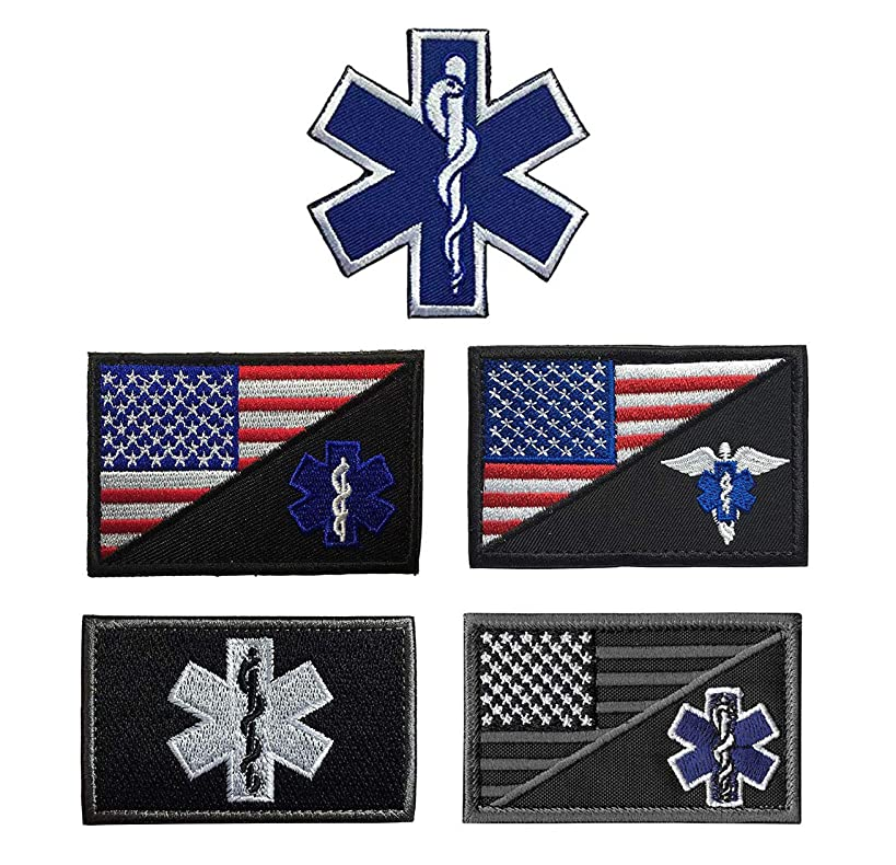 Antrix 5 Pieces US USA Flag/EMT Star of Life EMT EMS Paramedic Medic Medical Aid Cross Patch Military Morale Medical Care Patch Hook & Loop Tactical America Medic Emblem Military Patches