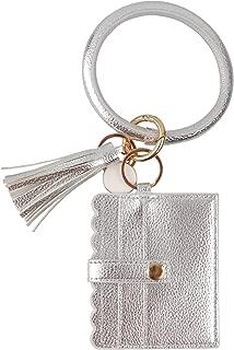 KraftyChix Wristlet Bracelet Keychain, ID Card Holder Purse with PU Leather Tassel Bangle Key Ring for Women Girls