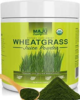 Organic Wheatgrass Juice Powder: Grown in Volcanic Soil, No High Temperatures Used, Non-GMO, Instant Juice Powder, Simply ...