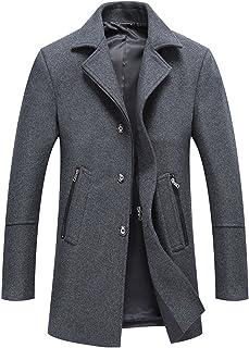 chouyatou Men's Classic Notched Collar Button-Zipper Front Wool Blend Midi Pea Coats