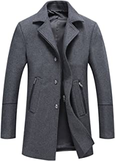 chouyatou Men's Classic Notched Collar Button-Zip Front Wool Blend Midi Pea Coats Detachable Hood
