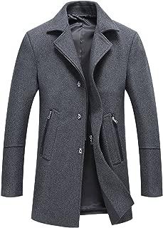 Men's Classic Notched Collar Button-Zipper Front Wool Blend Midi Pea Coats