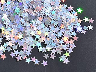 Star Confetti Holographic Stars Glitter Confetti for Christmas Decoration, Wedding Party Supplies and Nail Art, Multicolor, 10mm, Pack of 30 Grams