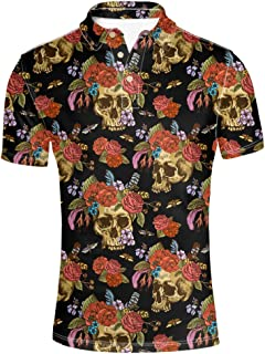 Retro Men's Polos Shirt Skull Short Sleevee T-Shirts
