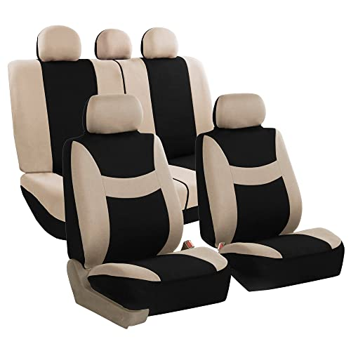 FH Group FH-FB030115-SEAT Light & Breezy Beige/Black Cloth Seat Cover