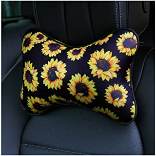 RANXIZY 2 Piece Sunflower Car Seat Neck Pillow,Washable Neoprene Headrest Cushion with Adjustable Strap Relief Neck Pain,S...