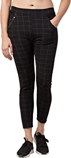 FUNDAY FASHION Women Check Pants (Jeggings Style) Formals/Casual Stretchable - 28-34 Inch Waist (Black)