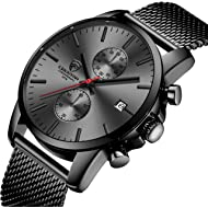 Men's Watches Fashion Sport Quartz Chronograph Watch with Leather/Mesh Stainless Strap...