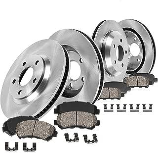 CRK13546 FRONT 295.55 mm + REAR 302 mm Premium OE 5 Lug [4] Rotors + [8] Quiet Low Dust Ceramic Brake Pads + Hardware