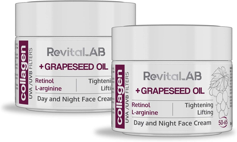 RevitaLAB - Crema hidratante antiarrugas de día y de noche con colágeno enriquecida con ácido hialurónico, L-arginina, retinoll y un filtro UVA/UVB, franja de edad 50-65, 2x 50 ml (multipaquete)