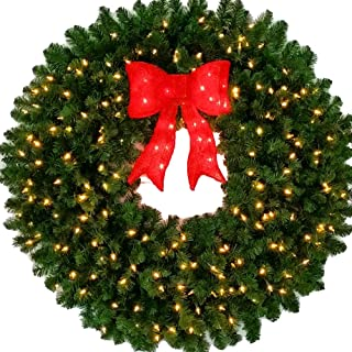 4 Foot L.E.D. Christmas Wreath with Pre-lit Red Bow - 48 inch - 200 LED Lights - Indoor - Outdoor