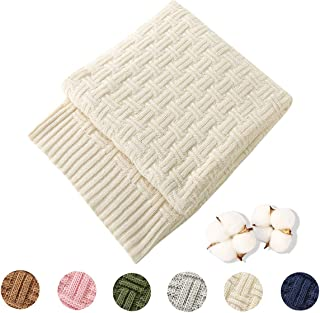 Treely 100% Cotton Cable Knit Throw Blanket for Couch Bed Sofa,Super Soft Warm Home Decorative Blankets(50 x 60 Inches,Ivory White)