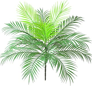 Aisamco Artificial Tropical Palm Leaf Bush Artificial Plant in Green 1 Pcs Plastic Areca Palm Plant 15 Leaves 63 cm Tall for Tropical Greenery Accent Floral Arrangement