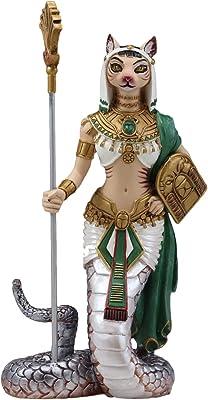 "Ebros 11""H Egyptian Feline Goddess Bastet Cat With Slain Snake Apep Tail Holding Spear & Shield Statue 11""H Ubasti Bast Patron Of Protection Health Home Harvest Gods Of Egypt Figurine (Vivid Colors)"