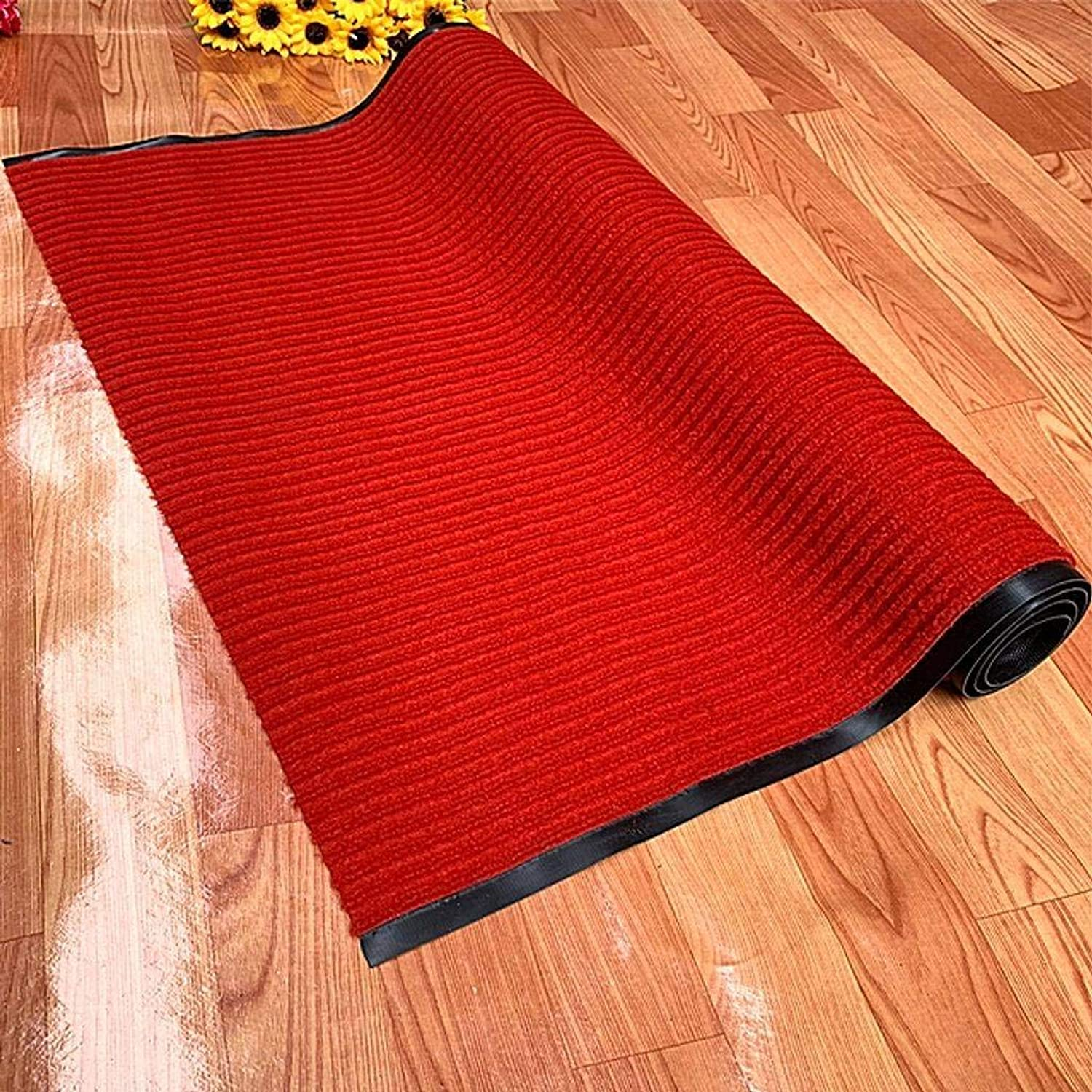 Indoor Outdoor Doormat, for Entrances, Front Doors, Hallways, Stairs, Garages and Hotels Non-Slip PVC Backing -80x120Cm(31x47Inch)-red