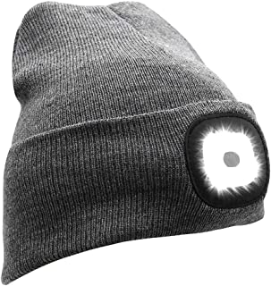 Joynest Led Beanie Hat Led Beanie Cap (USB Rechargeable) Unisex Knit Beanie hat Headlamp Cap Hand Free Beanie Best kids, f...
