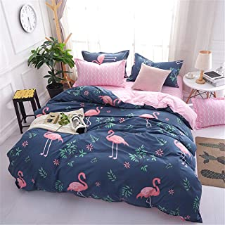 Flamingo Duvet Cover Twin Reversible Pink Flamingo Birds Printed Blue Bedding Duvet Cover with Zipper for Kids Teens Grils Adults Lightweight Soft Microfiber Bedding (3 Pieces, Twin Size)