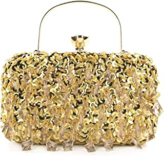 New Beaded Sequins Banquet Clutches Women's Evening Rhinestone Chains Women's Wedding Shoulder Crossbody Size: 20 * 7.5 * 11.5cm Fashion (Color : Gold)