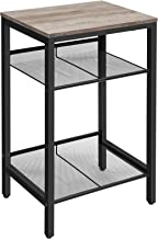 HOOBRO Side Table, Industrial End Telephone Table with Adjustable Mesh Shelves, for Office Hallway or Living Room, Wood Lo...