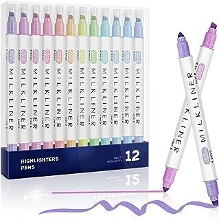 Surligneur, EooUooIP 12 Couleurs Pointe Biseautée Surligneurs Pastel Marqueurs et Surligneurs Fluo, pour salle de classe, ...