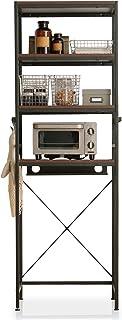 LOWYA ラック キッチンラック 36段階調整 可動棚 コードタップ収納 ダークブラウン/ブラック
