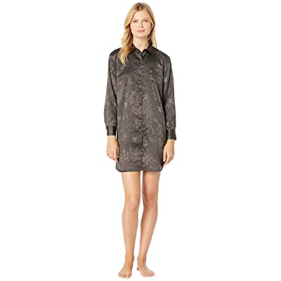 LAUREN Ralph Lauren Tonal Satin His Shirt Sleepshirt (Black) Women