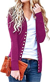Finoceans Women's Cardigans Button Down Front Long Sleeve V-Neck Knit Snap Sweater