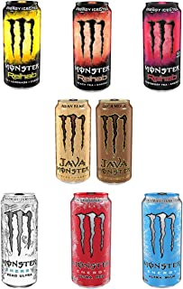 LUV BOX - Monster Energy Variety Cans Pack, 16pk, Rehab Tea Lemonade, Peach, Raspberry, Java Mean Bean, Loca Moca , Zero Ultra, Ultra Red, Ultra blue