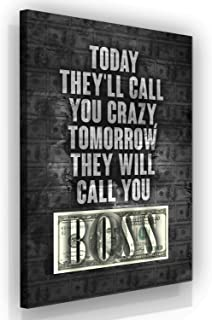 SuccessHuntersPrints Boss Quotes Canvas Print Motivational Hustle Wall Office Decor Modern Art Home Motivation Money Dollars Entrepreneur Hustler Quote Boss Gift (36