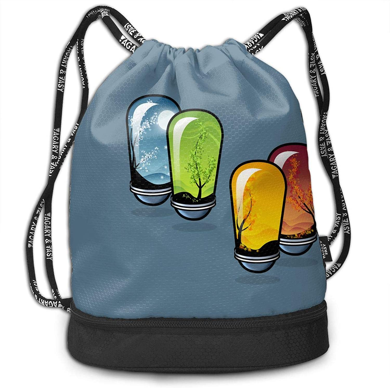 Gymsack Lightbulbs colorful Print Drawstring Bags  Simple Bundle Pocket Backpack