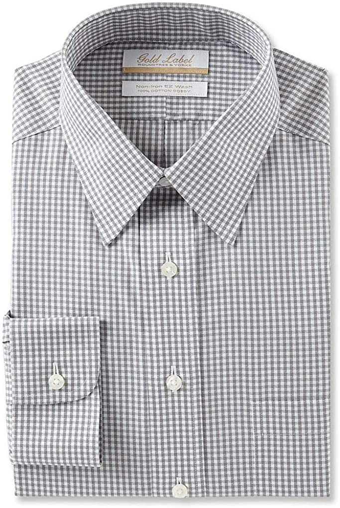 Gold Label Roundtree & Yorke Non-Iron Regular Point Collar Checked Dress Shirt G16A0016 Grey