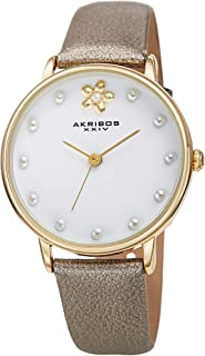 Akribos Pearl Hour Markers Women's Watch - Beveled Bezel Pearl Markers and Floral Design Genuine Leather Strap - AK1084