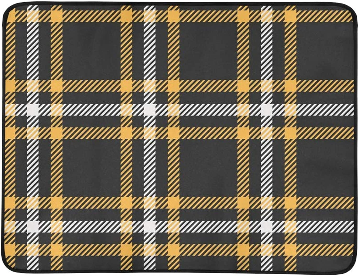 Plaid Tartan Black Yellow Portable and Foldable Blanket Mat 60x78 Inch Handy Mat for Camping Picnic Beach Indoor Outdoor Travel