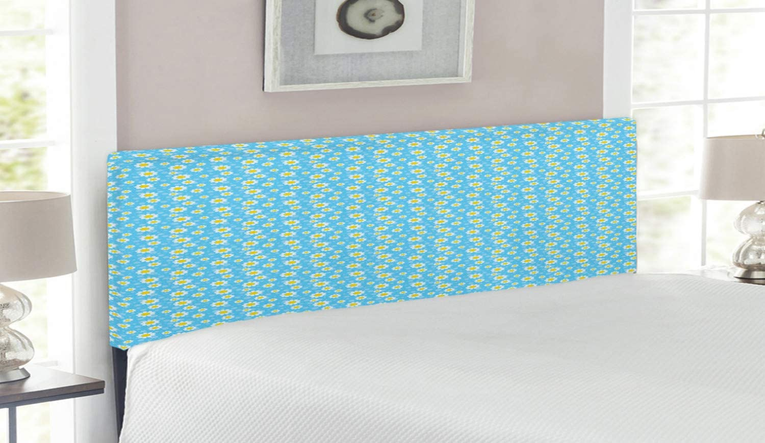Ambesonne Yellow and Max 40% Oakland Mall OFF Blue Headboard Cartoon a Blooms Chamomiles