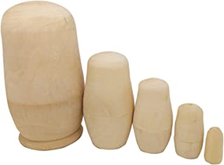 MAGIKON 5inch Set of 5pcs Unpainted Russian Nesting Doll , Blank Doll , Make Your Own Doll